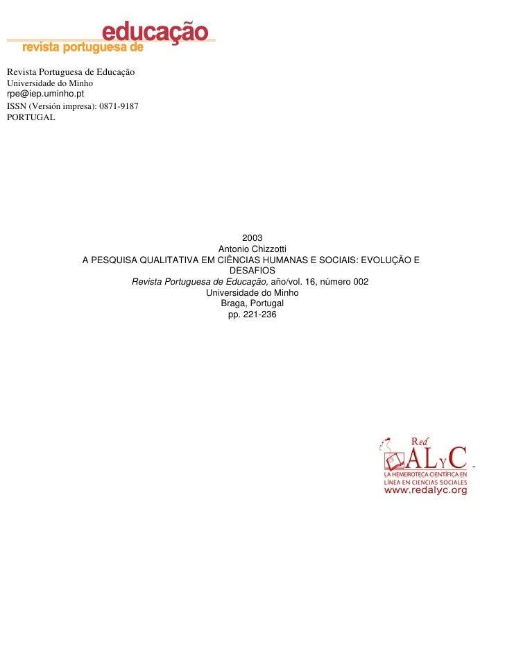 Revista Portuguesa de Educação Universidade do Minho rpe@iep.uminho.pt ISSN (Versión impresa): 0871-9187 PORTUGAL         ...