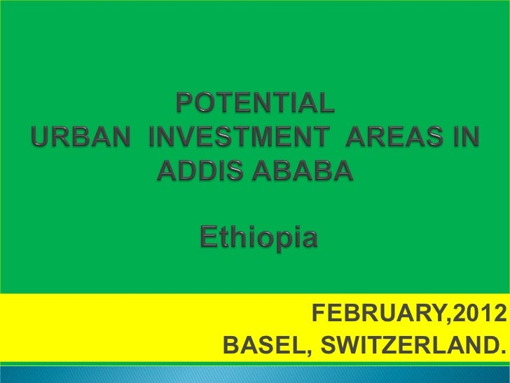 Potential investment areas in Addis Ababa