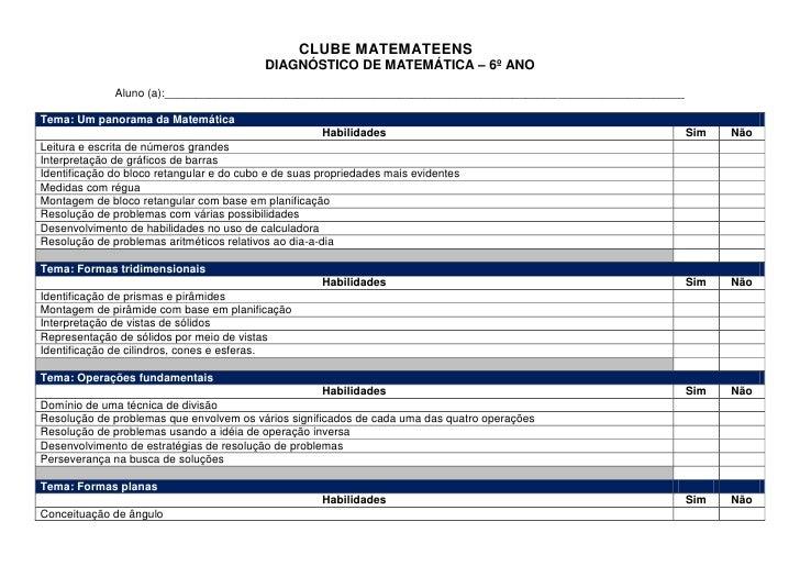 CLUBE MATEMATEENS                                            DIAGNÓSTICO DE MATEMÁTICA – 6º ANO               Aluno (a):__...