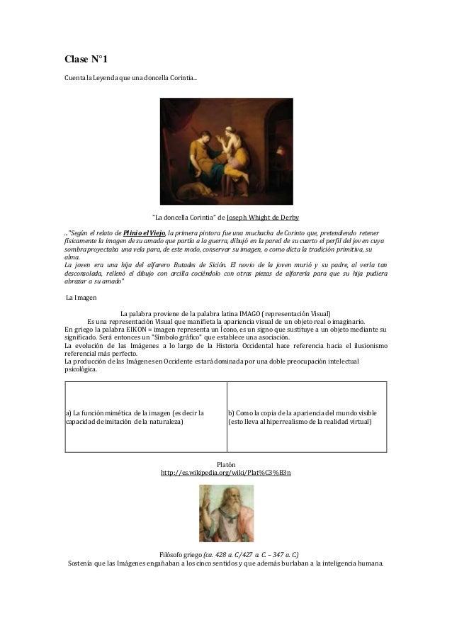 """Clase N°1 Cuenta la Leyenda que una doncella Corintia... """"La doncella Corintia"""" de Joseph Whight de Derby ...""""Según el rel..."""