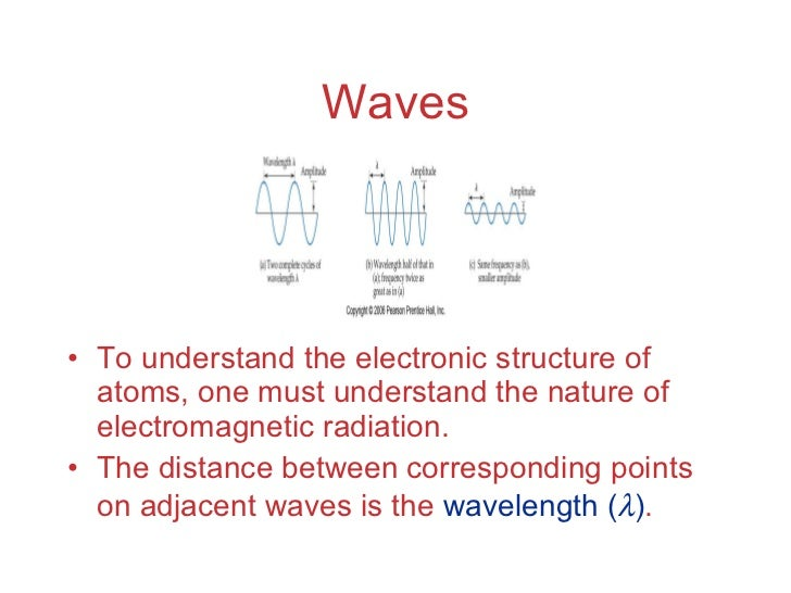 Waves <ul><li>To understand the electronic structure of atoms, one must understand the nature of electromagnetic radiation...