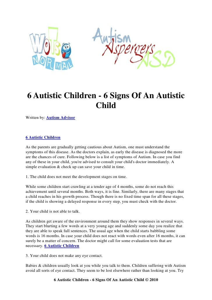 6 autistic children   6 signs of an autistic child