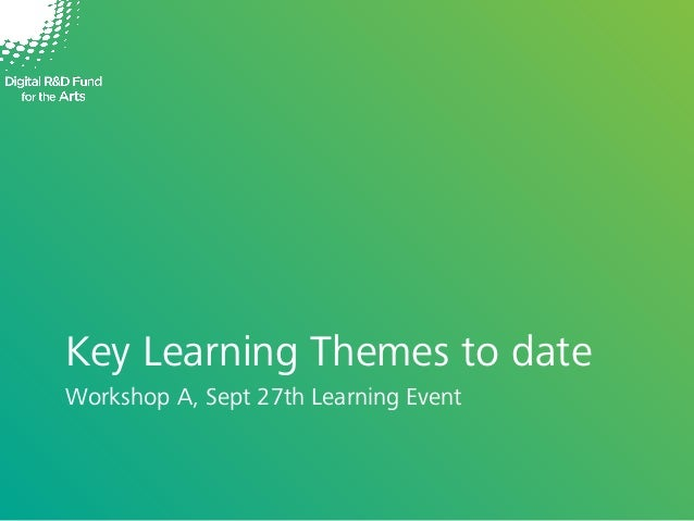 Key Learning Themes to date Workshop A, Sept 27th Learning Event