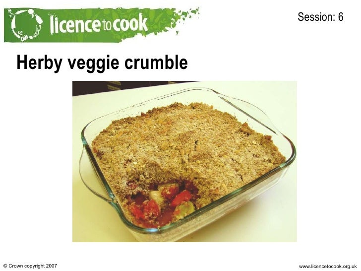 Herby veggie crumble Session: 6