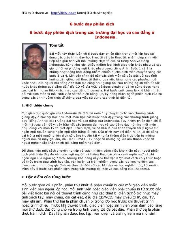 SEO by Dichvuso.vn – http://dichvuso.vn Đơn vị SEO chuyên nghiệp  6 bước dạy phiên dịch 6 bước dạy phiên dịch trong các tr...