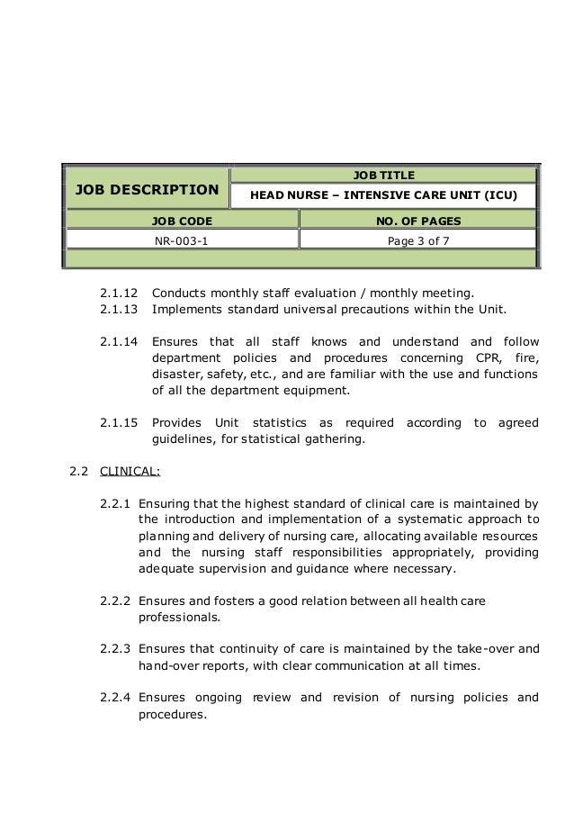 icu rn job description resumes