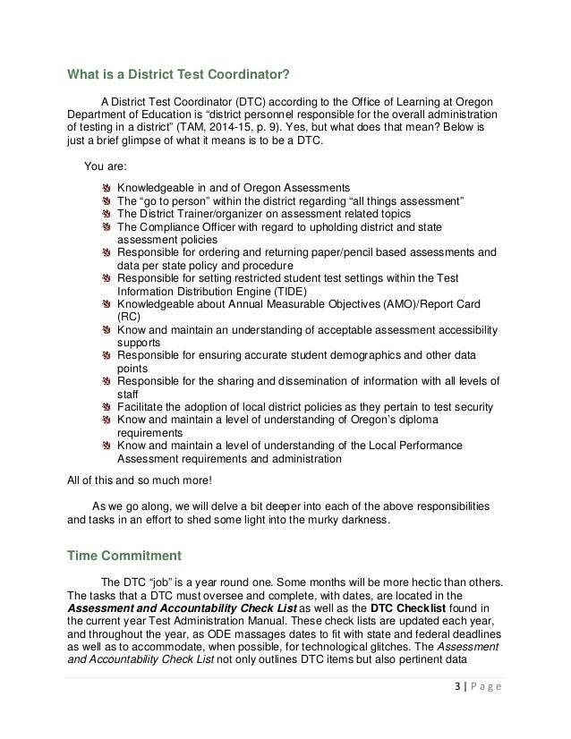 District test coordinator resume
