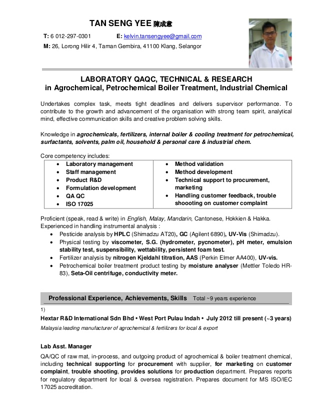 Resume For Job Malaysia Krys Tk