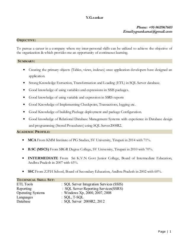 sql developer resume sample