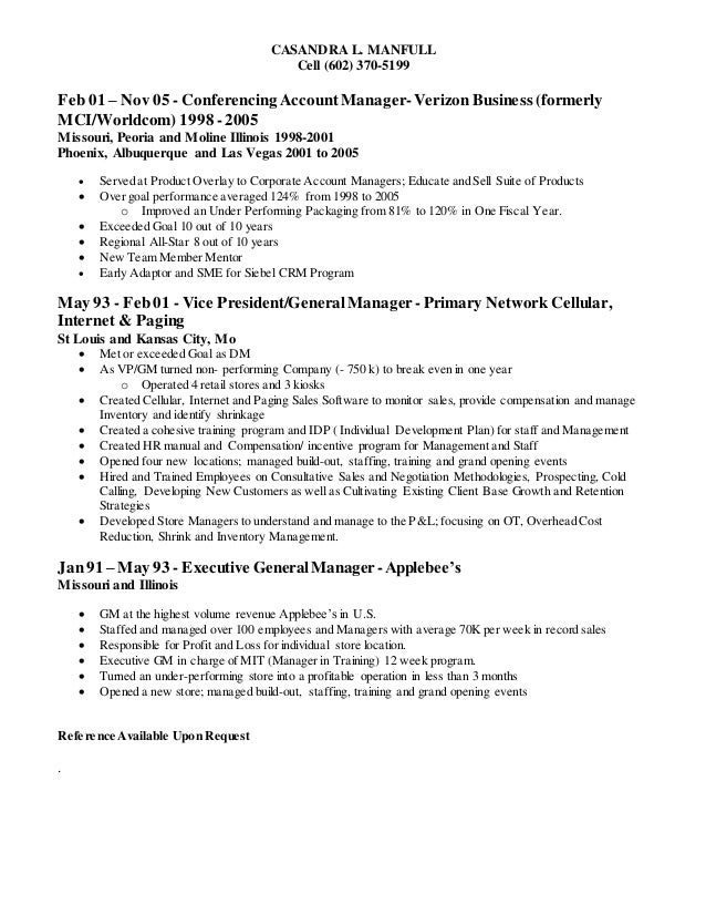 casandra l manfull resume 09 feb 2015 account manager