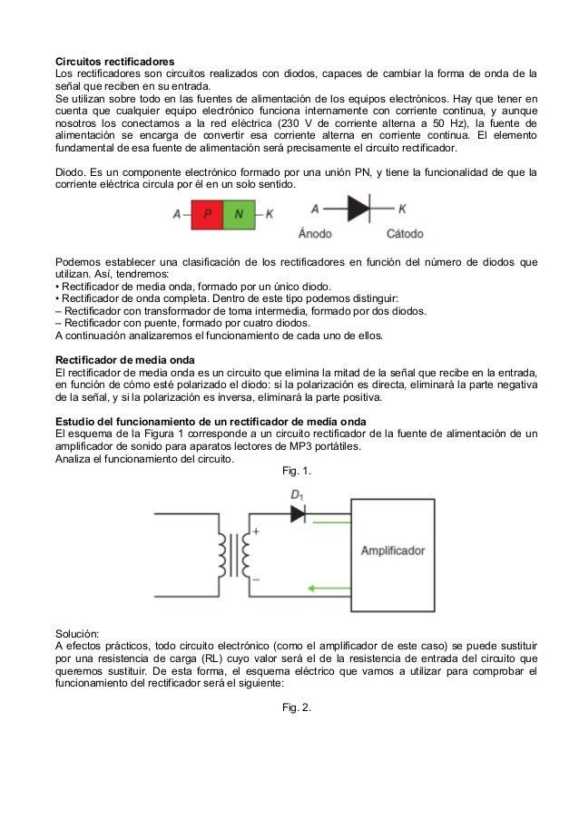 Circuitos rectificadoresLos rectificadores son circuitos realizados con diodos, capaces de cambiar la forma de onda de las...