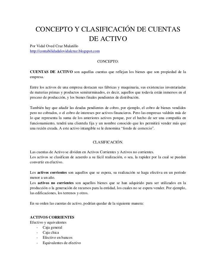 6 Concepto Y ClasificacióN De Cuentas De Activo