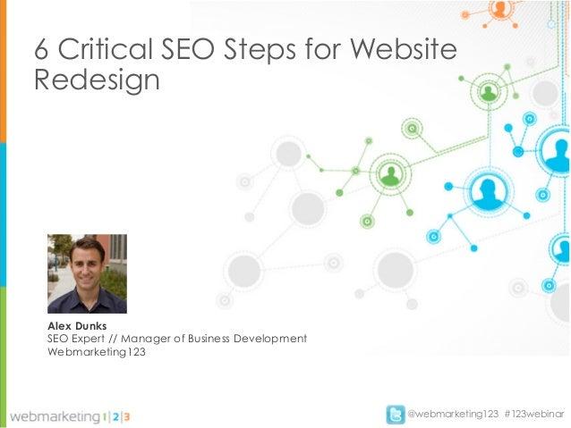 6 Critical SEO Steps for WebsiteRedesign Alex Dunks SEO Expert // Manager of Business Development Webmarketing123         ...