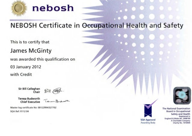 J Mcginty Nebosh Certificate In Occupational Health Amp Safety