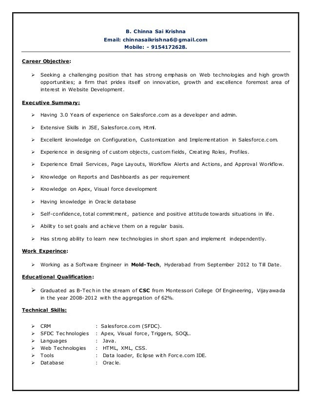 Exelent Crm Resume And Salesforce Developer Fresher Jobs Elaboration ...