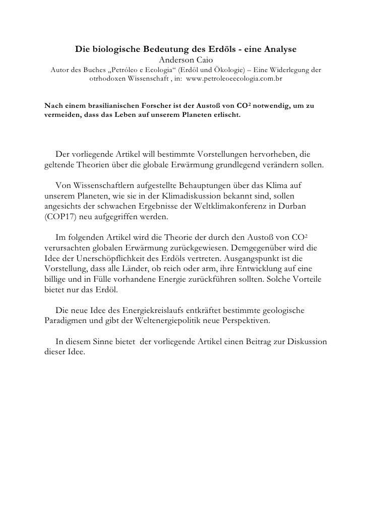 """Die biologische Bedeutung des Erdöls - eine Analyse                                 Anderson Caio Autor des Buches """"Petról..."""