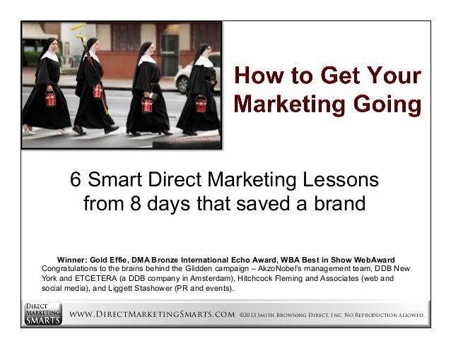 6 Smart Direct Marketing Lessons from 8 days that saved a brand Winner: Gold Effie, DMA Bronze International Echo Award, W...