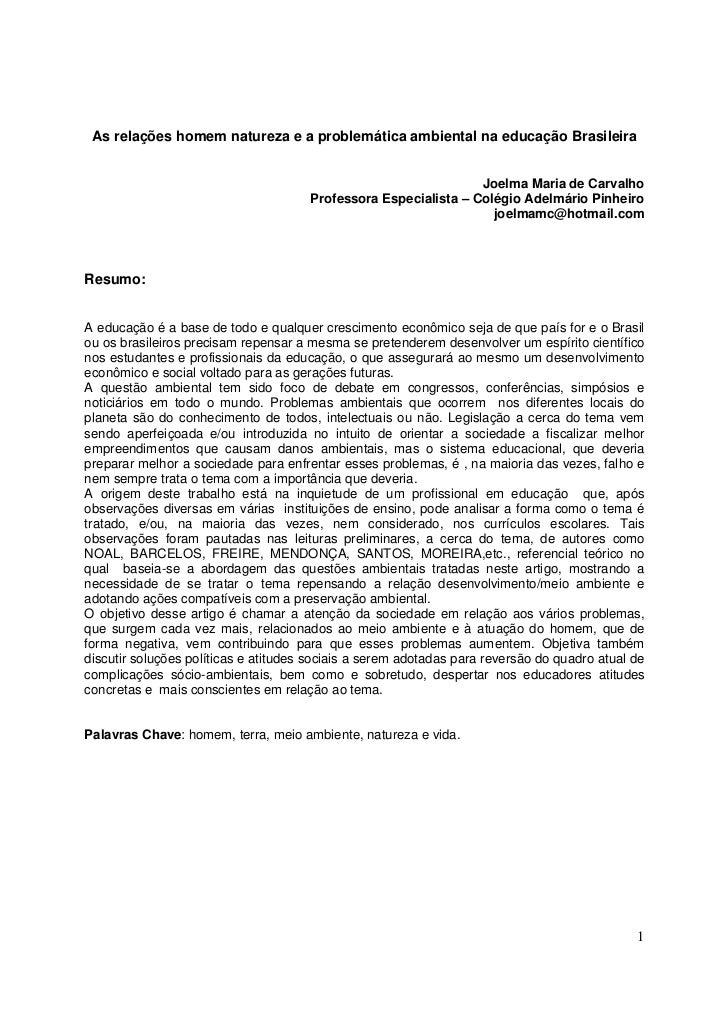 As relações homem natureza e a problemática ambiental na educação Brasileira                                              ...