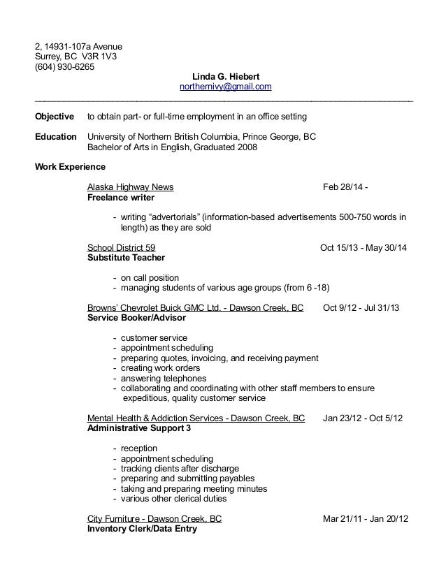 Clerical example resume