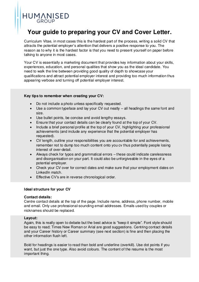 preparing a resume and cover letter guilde to preparing your cv and cover letter humanised
