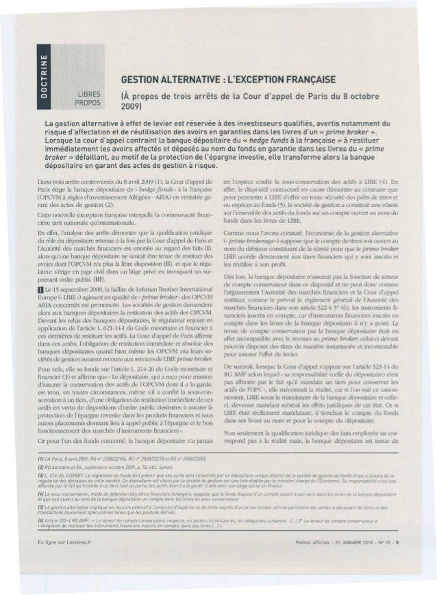 Gestion Alternative -  L'Exception Française