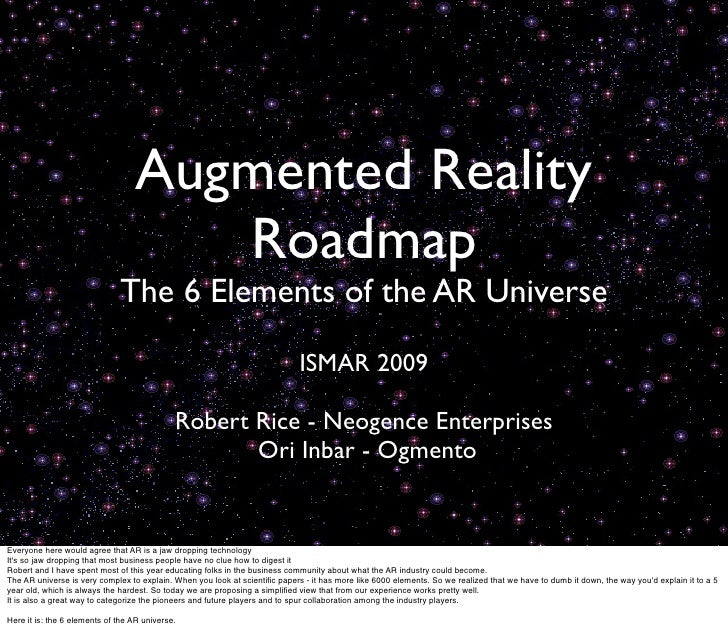 Augmented Reality                                      Roadmap                               The 6 Elements of the AR Univ...