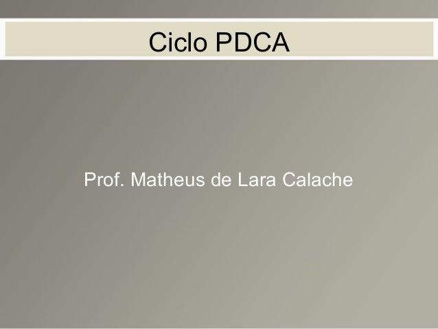 Ciclo PDCA Prof. Matheus de Lara Calache