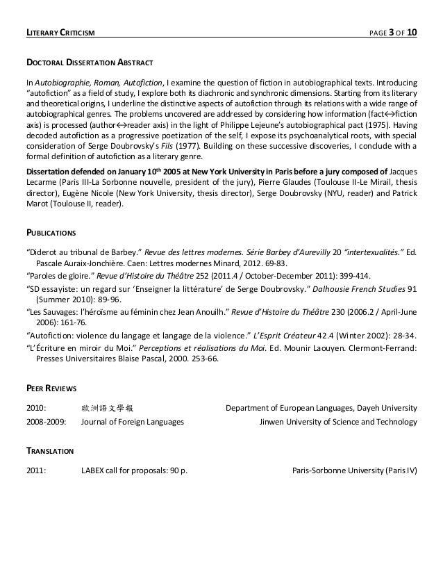 dissertation sur le genre autobiographique Dissertations gratuites portant sur respecter le pacte autobiographique pour les étudiants dissertation : l'autobiographie le genre autobiographique.