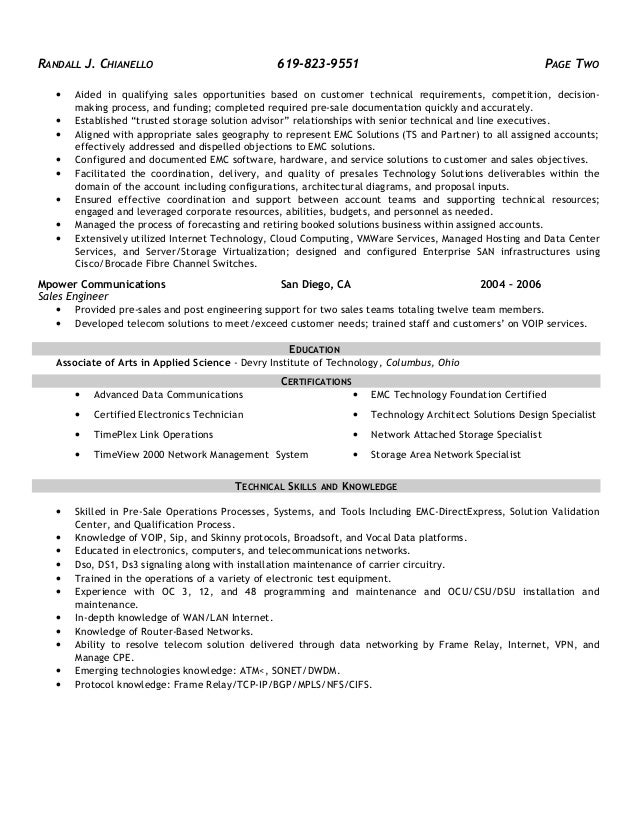 pre sales engineer resumes - Romeo.landinez.co