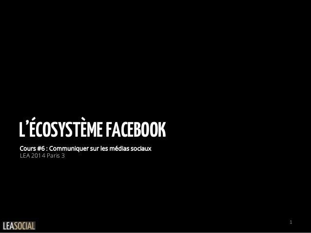 L'ÉCOSYSTÈMEFACEBOOK Cours #6 : Communiquer sur les médias sociaux LEA 2014 Paris 3 1