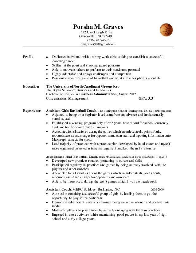 coaching resume exles basketball