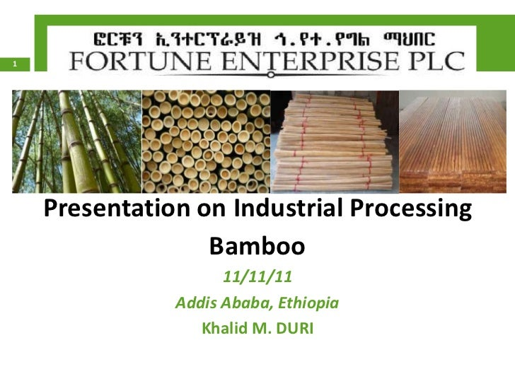 1    Presentation on Industrial Processing                  Bamboo                     11/11/11               Addis Ababa,...