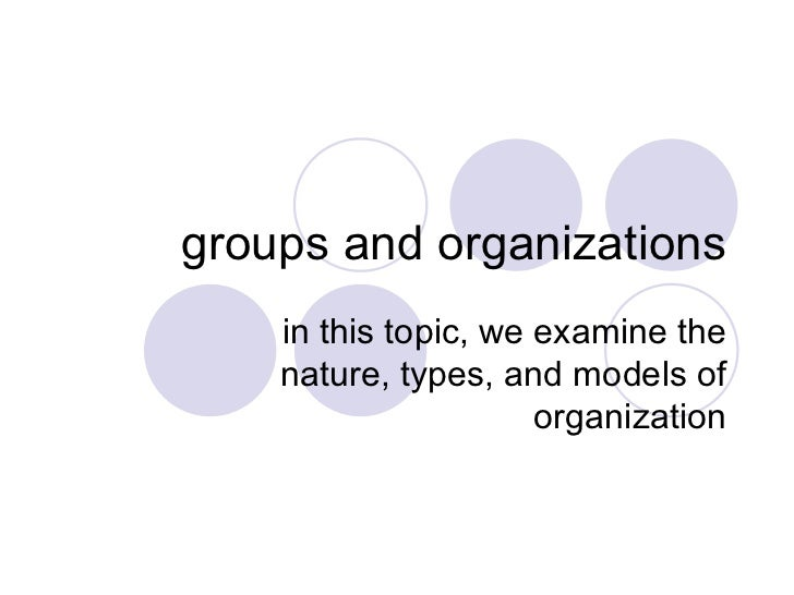 groups and organizations in this topic, we examine the nature, types, and models of organization