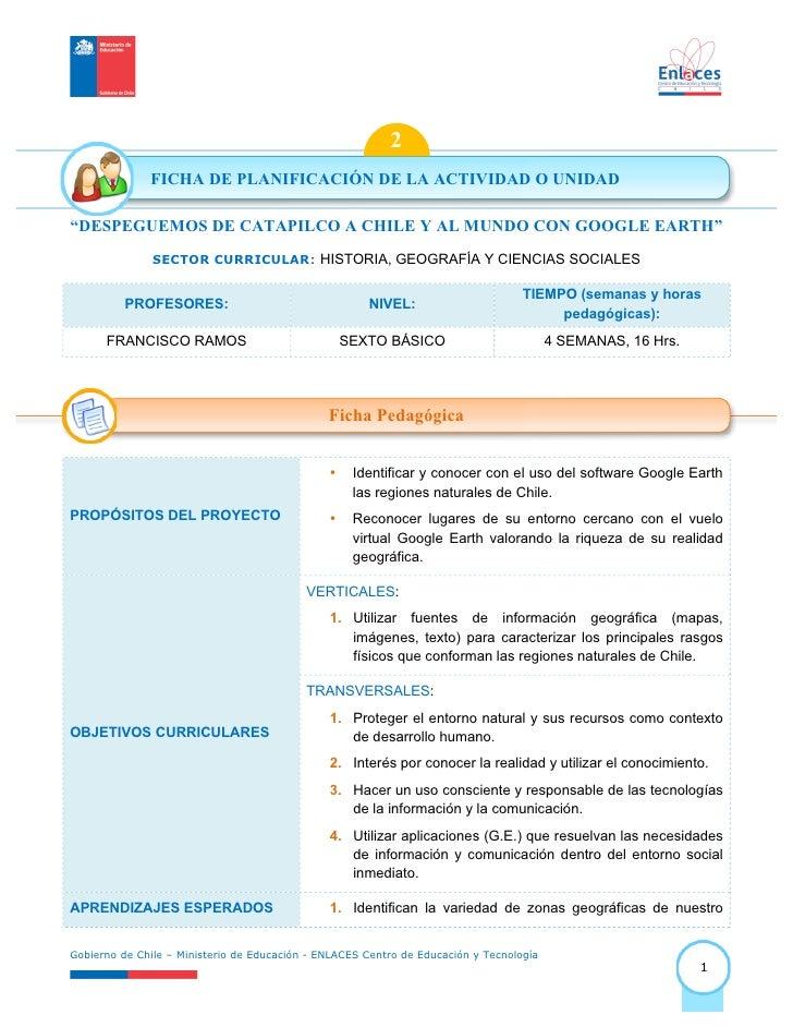 """2              FICHA DE PLANIFICACIÓN DE LA ACTIVIDAD O UNIDAD""""DESPEGUEMOS DE CATAPILCO A CHILE Y AL MUNDO CON GOOGLE EART..."""