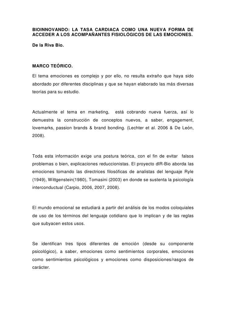 BIOINNOVANDO: LA TASA CARDIACA COMO UNA NUEVA FORMA DE ACCEDER A LOS ACOMPAÑANTES FISIOLÓGICOS DE LAS EMOCIONES.  De la Ri...
