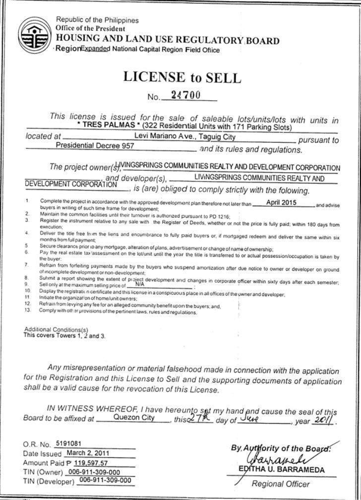 Tres Palmas'License  to Sell