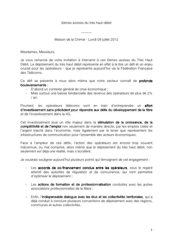 6èmes Assises du THD - Intervention Pierre Louette