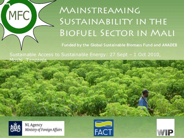 Mainstreaming Sustainability in the Biofuel Sector in Mali Sustainable Access to Sustainable Energy: 27 Sept – 1 Oct 2010,...