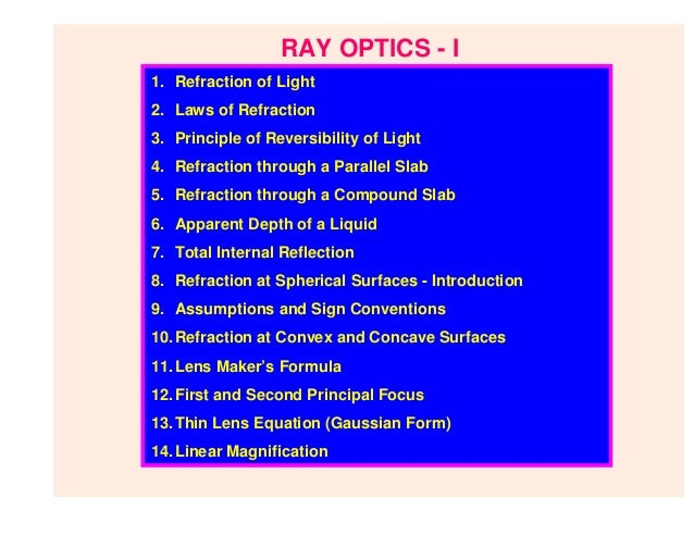 RAY OPTICS - I1. Refraction of Light2. Laws of Refraction3. Principle of Reversibility of Light4. Refraction through a Par...