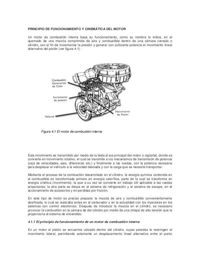 PRINCIPIO DE FUNCIONAMIENTO Y CINEMÁTICA DEL MOTOR Un motor de combustión interna basa su funcionamiento, como su nombre l...