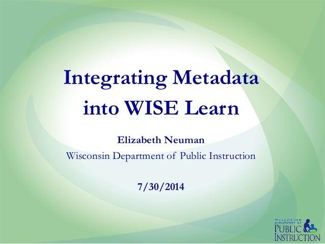 Integrating Metadata into WISE Learn | Education Metadata Meetup