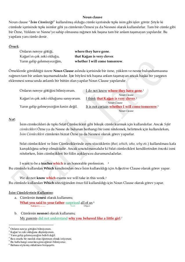"""Noun clause Noun clause """"İsim Cümleciği"""" kullanılmış olduğu cümle içerisinde tıpkı isim gibi işlev görür. Şöyle ki cümlede..."""