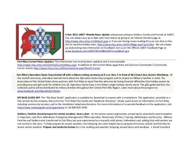 6 Nov 2012 1ABCT Weekly News Update: please pass along to Soldiers, Family and Friends of 1ABCT.                          ...