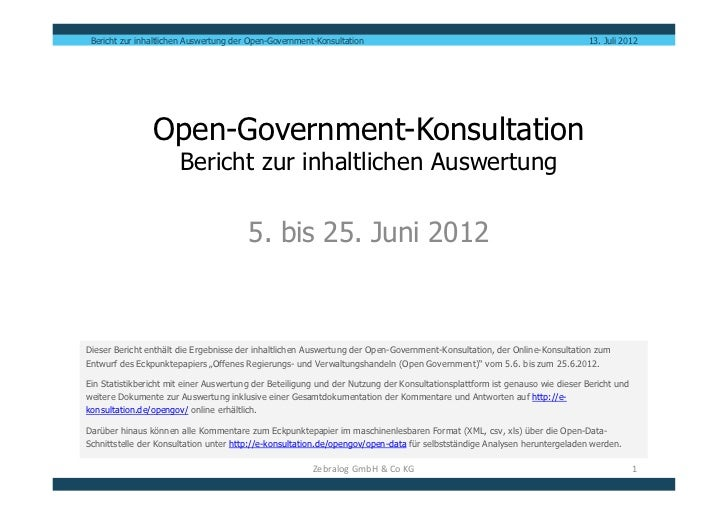 "Auswertungsbericht ""Open Government Konsultation"""