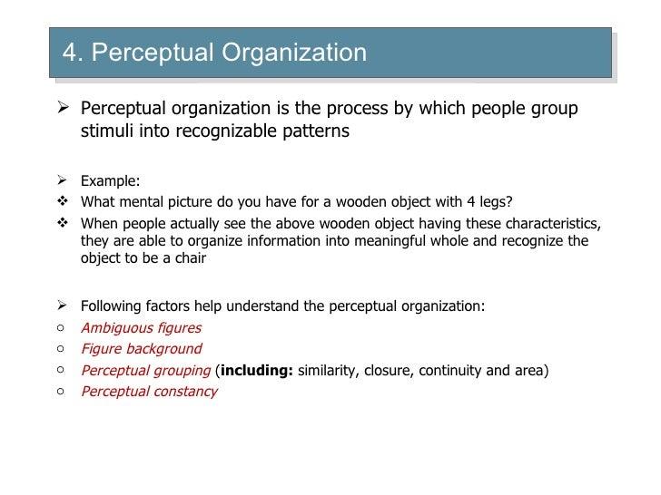 an analysis of the aspects of perceptual organization Virtualreality human perceptual function rfielding community medicine bsuhku lecture outline learningobjectives sensationversus perception.