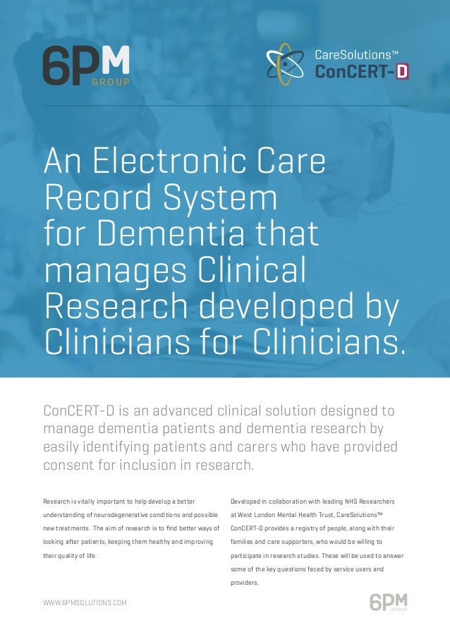 www.6pmsolutions.com Research is vitally important to help develop a better understanding of neurodegenerative conditions ...