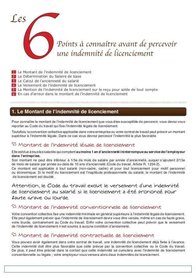 1     Le Montant de l'indemnité de licenciement2     La Détermination du Salaire de base3     Le Calcul de l'ancienneté du...