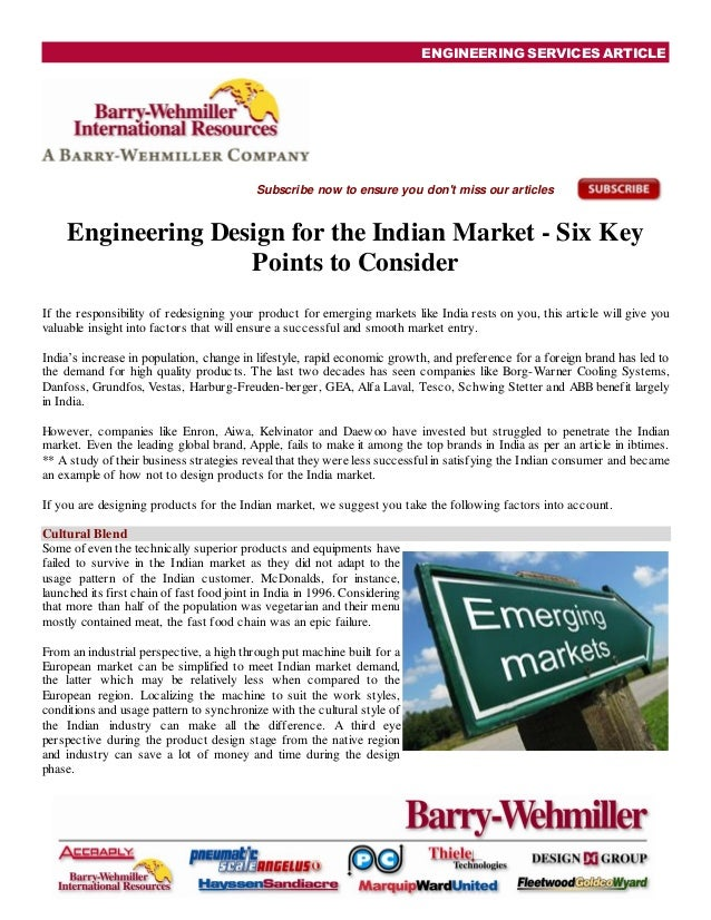 ENGINEERING SERVICES ARTICLESubscribe now to ensure you dont miss our articlesEngineering Design for the Indian Market - S...
