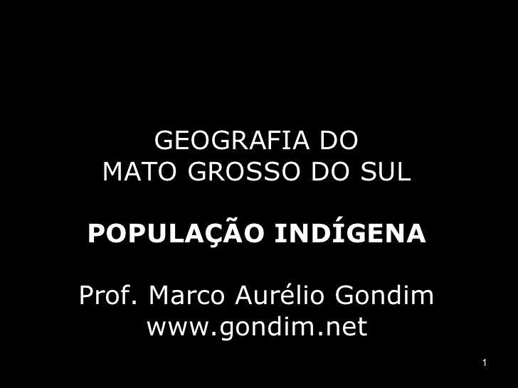 Geografia do Mato Grosso do Sul - População indígena. Blog do Prof. Marco Aurélio Gondim [www.gondim.net]