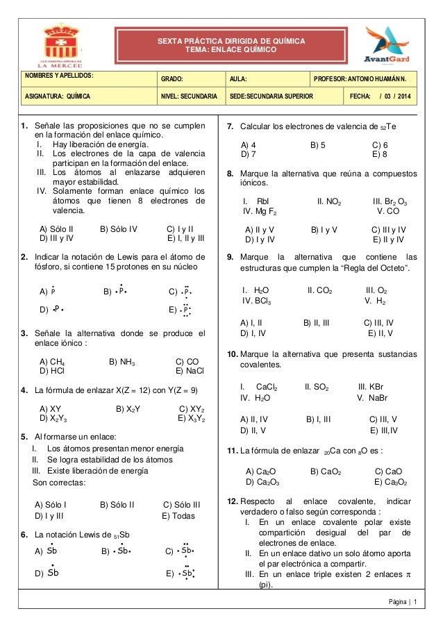 6° práctica dirigida   enlace químico
